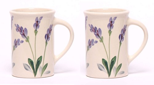 Emerson Creek Stoneware 10 Oz Coffee Or Tea Cup, Set Of 2, Dinnerware Made In The Usa (Lavender)