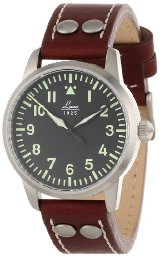 Laco 1925 Chrono Men's Automatic Watch with Silver Dial Analogue Display and Brown Leather Strap