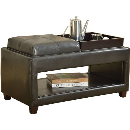 acme-gosse-bench-with-2-trays-dark-brown-faux-leather