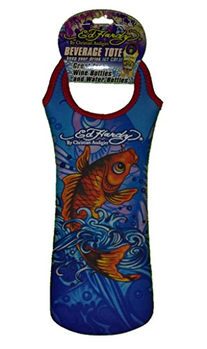 Ed Hardy Designs By Christian Audigier Neoprene One-Bottle Wine Beverage Tote (Tattoo Ocean Koi Fish)