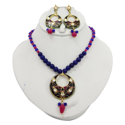 Indian Multicolor Enamel Beaded Strands Necklace Set Women Wear Costume jewellery
