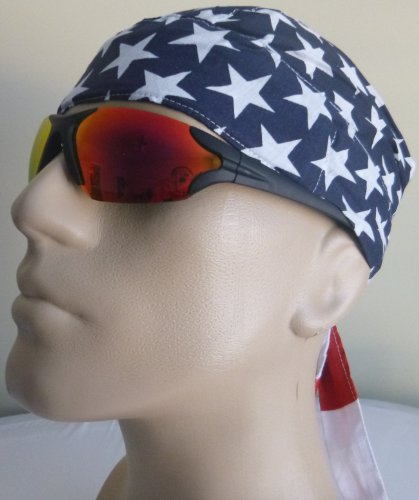 American Flag Bikers Cap with SWEATBAND, These Are Thicker Than Most and More Durable, AKA: Skull Caps/ Bandana Wraps/ Headwraps/ Medical Caps with Stars and Stripes, Red, White and Blue, Patriotic Surgical Scrub Cap, United States Flag Welder's Cap Breathable 100% Cotton, One Size to Fit Men, Women and Teens, America, USA, U.S. Citizen Suitable for Hair Loss, Workouts, Medical, Healthcare, Bikers, Truckers, Athletes and Food Workers to Keep Hair Out of Face and Retain Sweat