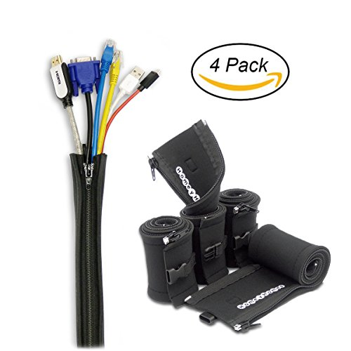 Cable Management Sleeve System - 4 Pack 20-Inch Black Cord Organizers with Zipper, Connector Buckles and Wire Labels -By HomeyHomes (Electric Cord Channel compare prices)