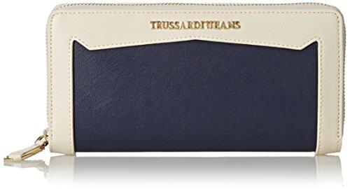 Trussardi Jeans Zip Around Grande, Saint Tropez, Blu Navy, 19 cm