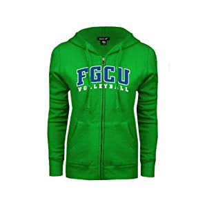 Florida Gulf Coast Ladies Kelly Green Fleece Full Zip Hoodie-Large, Volleyball
