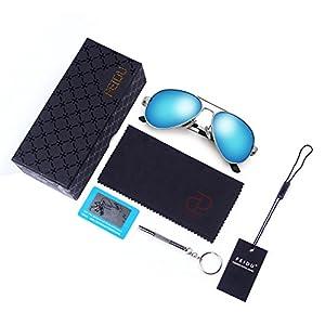 f33d0129fc FEIDU Mens Polarized Aviator Sunglasses Metal Frame Unisex Sun Glasses  FD9001 (Blue Silver
