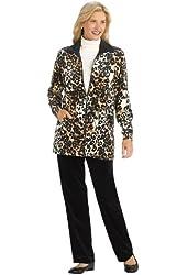 Leopard Velour Jacket Set - Misses Sizes