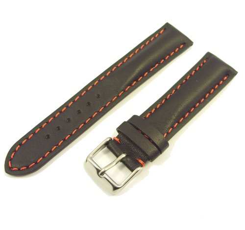 ZeitPunkt calf Watchband with red contrast stitching black 20 mm