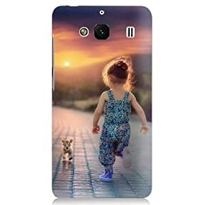 Clapcart Girl with Cat Printed Back Cover for Redmi 2, Redmi 2 Prime and Redmi 2S- Multicolor
