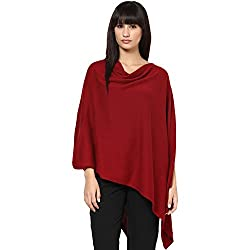 Pluchi Fashion Knitted Cotton Poncho Rosette-DK RED