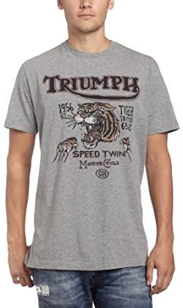 Lucky Brand Mens Triumph Speed Tiger T Shirt Heather Grey