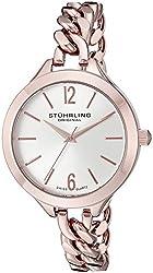 Stuhrling Original Women's 624M.03 Vogue Swiss Quartz Rose Tone Link Bracelet Watch