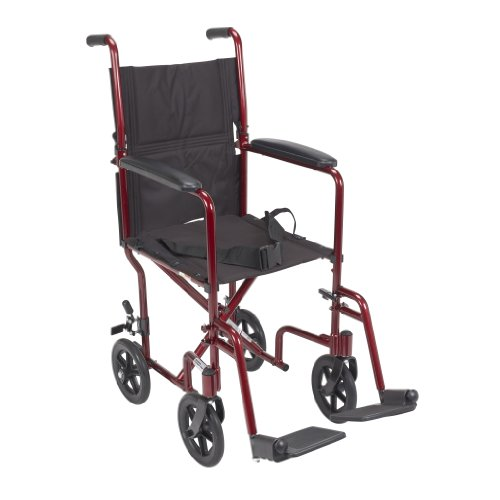Drive Medical Deluxe Lightweight Aluminum Transport Wheelchair, Red, 17