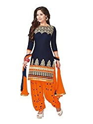 PShopee Navy Blue & Orange Cotton Embroidery Unstitched Patiyala Dress Material