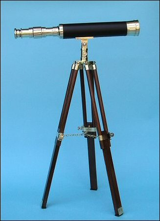 19-Inch Polished Brass/Leather Sheathed Nautical Desktop/Tabletop Telescope On Hardwood Tripod