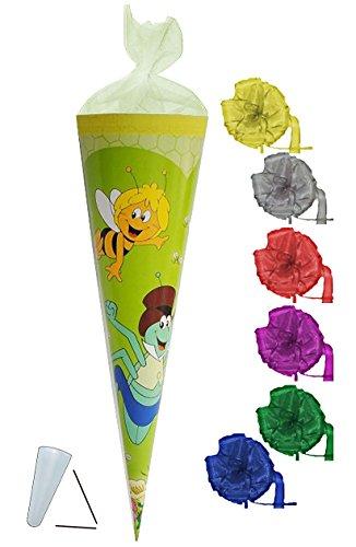 Schultüte - Biene Maja 22 cm - incl. SCHLEIFE - mit / ohne Kunststoff Spitze - Tüllabschluß - Zuckertüte für Mädchen Jungen Bienen Honig Willi Flip
