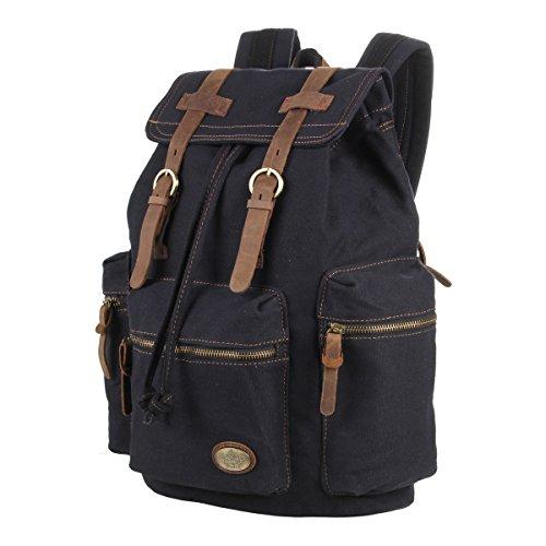 CLELO Antique Canvas Leather-based Backpack Rucksack Schoolbag Bookbag for School