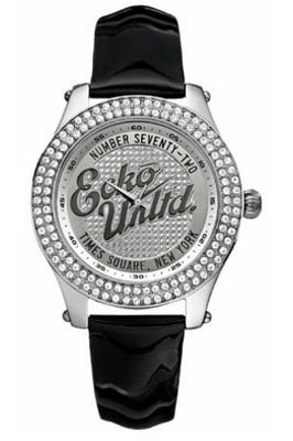 Marc Ecko Unisex Watch E10038M1 With Rollie Silver Dial And Black Patent Strap
