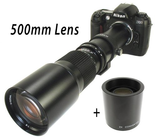 500Mm Manual Focus Telephoto Lens +2X 1000Mm Doubler For Nikon Digital Slr