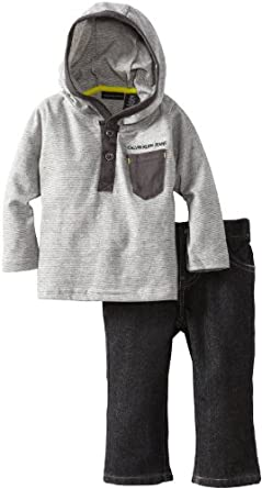 Calvin Klein Baby-Boys Infant Hooded Top With Black Jeans, Gray, 24 Months