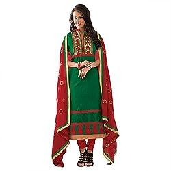 Pavani Women's Cotton Semi Stitched Dress Material (D1500063_Green_Free Size)