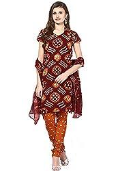 Soundarya Ethnicwear Bandhej Cotton Salwar Dress Material for Women (BS26)