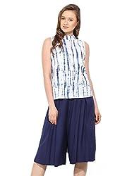 Saiesta Women's Tie-Dye High Neck White-Blue Top