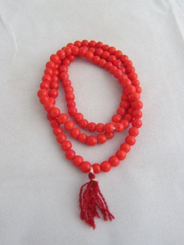 Coral Munga 108 Beads Yoga Meditation Mala Spiritual Necklace Japamala - For Energy and Prosperity