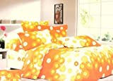 Dexim Cotton Printed Bed Sheet with two pillow cover Set - King size, yellow orange