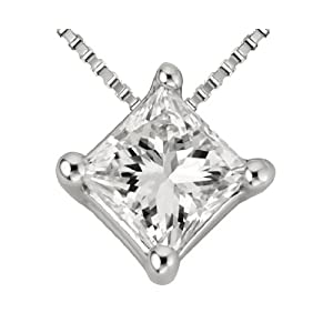 0.37 Carat 4 Prong Basket Setting Diamond Pendant Necklace in 14K White-gold with a I-J SI1-SI2 Princess Cut / Shape Diamond without chain