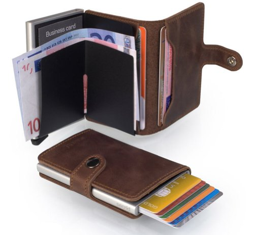 92e63cf69ae Secrid mini wallet leather vintage brown Very Slim Credit Card Wallet with  RFID protection with one click all cards slide out gradually