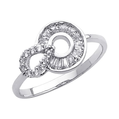 14K White Gold CZ Cubic Zirconia Promise Ring Band - Size 7.5