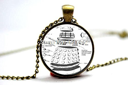Pretty Lee 2015 Fashion Doctor Who Dalek Necklace Glass Photo Cabochon Necklace Christmas gift