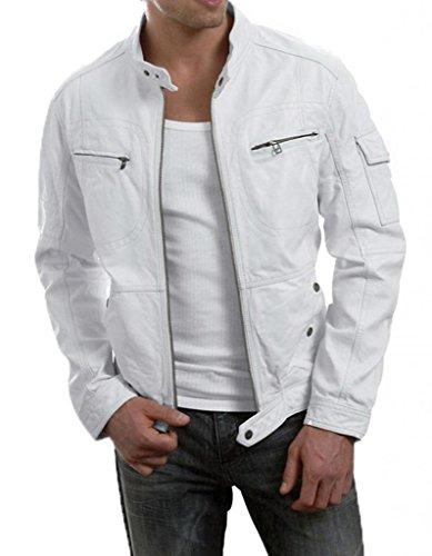 Lj4U Men'S Moto Leather Jacket Mj 054 X-Small White