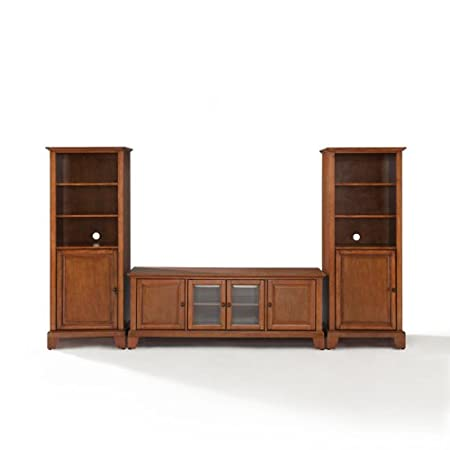 Crosley Newport Low Profile TV Stand and Two Audio Piers, 60-Inch by 60-Inch, Classic Cherry Finish