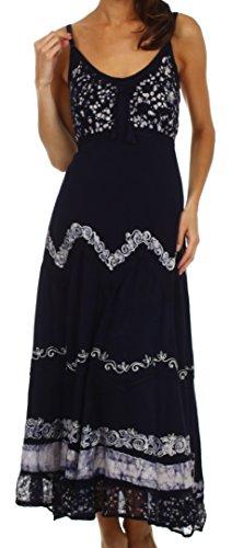 Sakkas 414012 Luna Batik Embroidered Adjustable Spaghetti Strap Dress - Navy / White - L/Xl