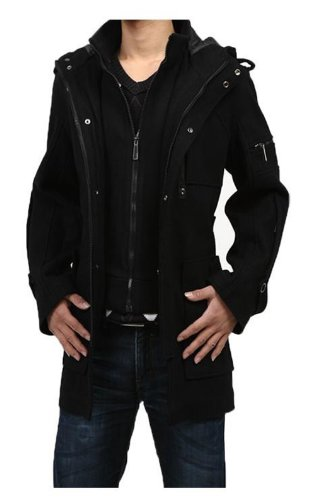 GST Woolen Coat Hooded Winter Trench Coat Men 2XL Black « Osfas