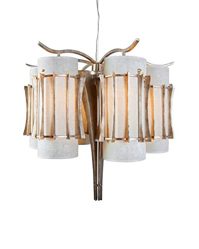 Varaluz Occasion 6-Light Chandelier, Zen Gold/Tan Silk