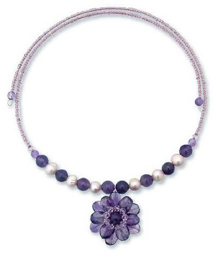 Pearl and Purple Amethyst Flower Necklace 'Oriental Bloom' 0.2