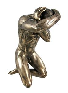 Bronzed Finish Kneeling Nude Male Statue Erotic Art