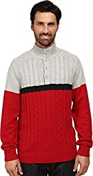 Nautica Men\'s Color Block Button Mock Sweater, Grey Heather, Medium