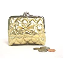 Beautifully Quilted Leather-like with Bow Accent Coin Purse Small Cosmetic Purse Pouch (Gold)