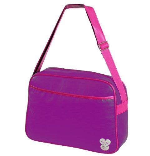 More4bagz - Damen & Mädchen - Umhängetasche im Retro-Stil - für Schule Uni Büro - einfarbig mit Eule - Lila