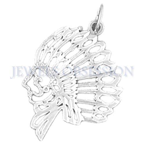 Necklace Obsession'S 14K White Gold 25Mm Indian Head Pendant Necklace