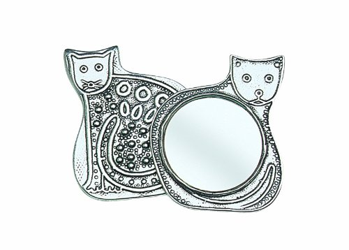 Crosby & Taylor Cat Pewter Purse Mirror