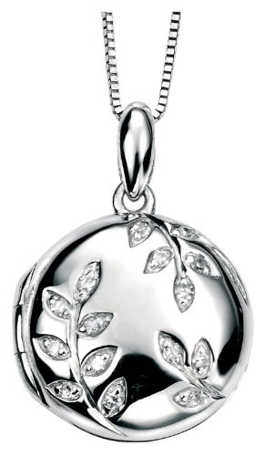 9ct White Gold Diamond Pave Leaf Locket. Width 14mm.