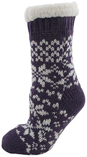 ladies-fairisle-fleece-lined-chunky-slipper-socks-purple