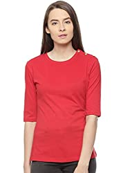 Vvoguish TOMATO RED Solid Print 100% Cotton Top VVTOP1208TRED_S
