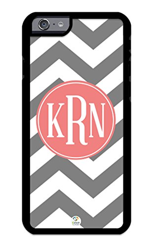 Izercase Iphone 6 Case Monogram Personalized Grey And White Chevron Pattern With Coral Circle Rubber Case - Fits Iphone 6 T-Mobile, At&T, Sprint, Verizon And International (Black)
