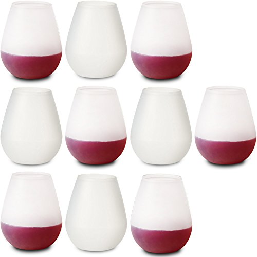 10 Unbreakable Stemless Silicone Wine Drinking Glasses. Bulk Set of Clear 12 oz Premium Food Grade, Dishwasher Safe, Rubber Cups. Best as Shatterproof Wine, Beer, & Cocktail Drinkware....